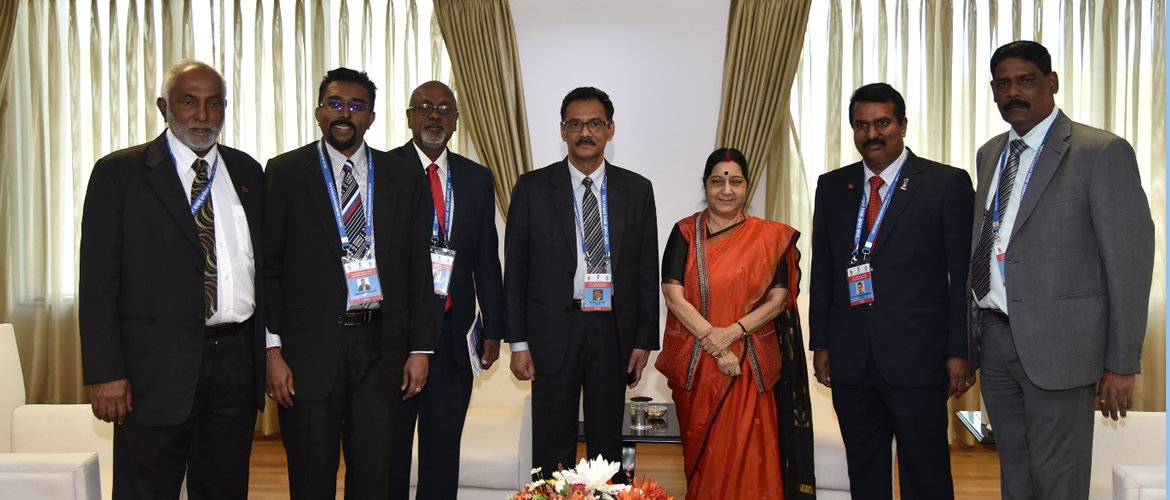 Smt. Sushma Swaraj, Minister of External Affairs, Government of India with the Malaysian delegates at the 1st PIO Parliamentarians Conference which held on January 9, 2018 at New Delhi. (From left) Senator Datuk Sambanthan, Senator Dato Dr. Anandan Somasundaram, Smt. Sushma Swaraj, Minister of External Affairs, Senator Dato' Sri Devamany, Deputy Minister in Prime Minister's Department, Mr. Sivarasa Rasiah, Member of Parliament, Mr. G. Manivannan Gowindasamy, Member of Parliament, Senator Mr. Chandra Mohan S Thambirajah